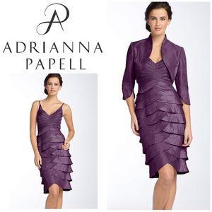 Adrianna Papell Tiered Satin Sheath Dress & Bolero